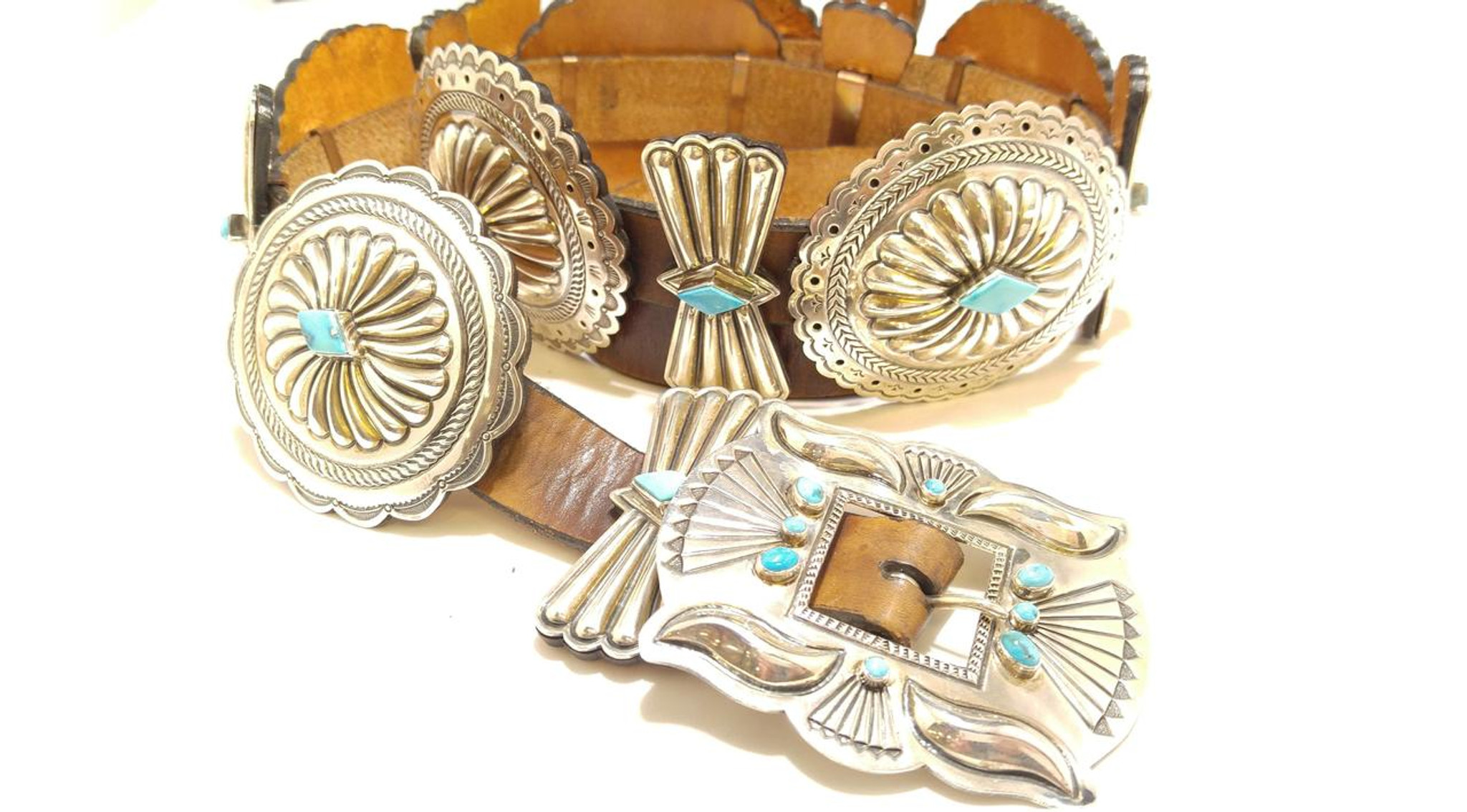 382e47a63ab7 ... Chaco Canyon Concho Turquoise Belt Buckle. Concho Belt .925 Sterling  Silver