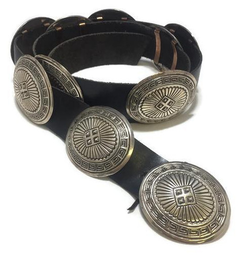Old pawn concho black leather belt Stamped as LM Navajo Leon Martinez