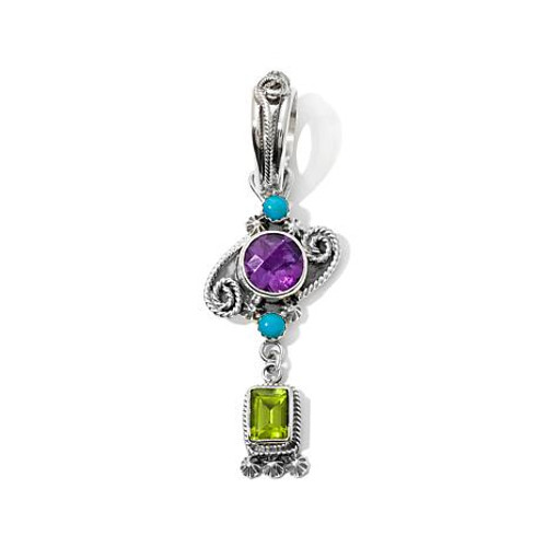 Chaco Couture Amethyst, Peridot, and Turquoise Pendant