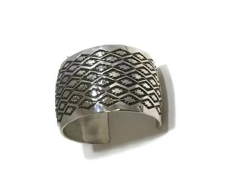 Navajo made silver cuff bracelet