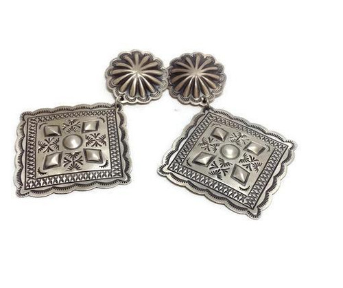 Native American made sterling silver stamped earrings