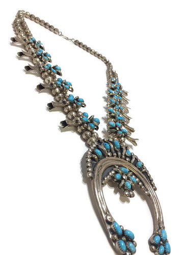 Old Pawn Squash Blossom Necklace with Earrings