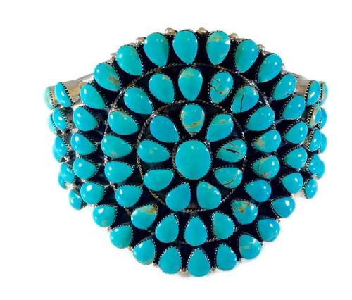 Cluster Cuff Bracelet Kingman Turquoise Artist: Mike Smith