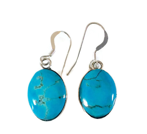Kingman Turquoise Oval Drop Earrings