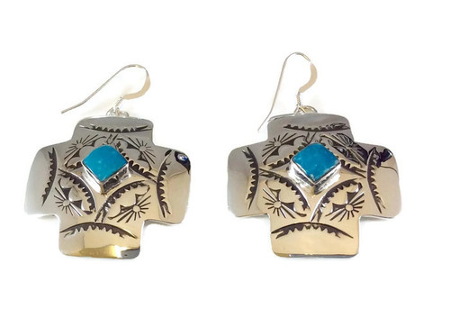 .925 Sterling Silver Stamped Diamond Shaped Turquoise  French Wire Artist: Greg Yazzie