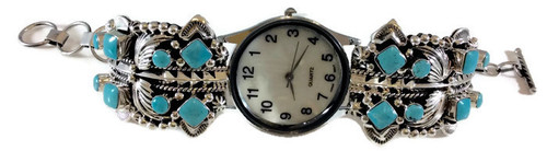 Kingman Turquoise Leaf Womens Watch .925 Sterling Silver Artist: Lloyd Martinez
