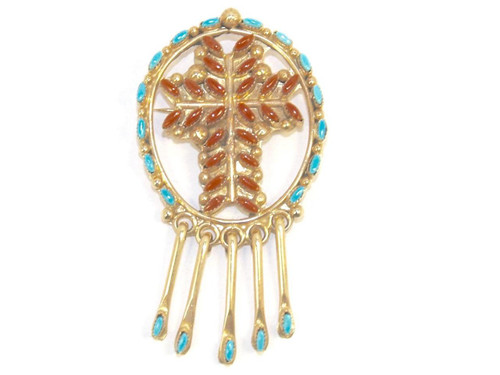 Chaco Canyon Zuni 14K Gold Pendant/Pin