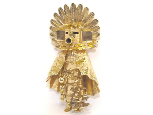 14K solid gold Kachina pendant