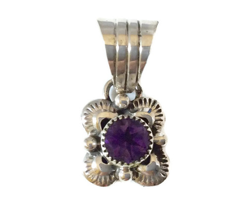 Round Amethyst Stone Scalloped Pendant