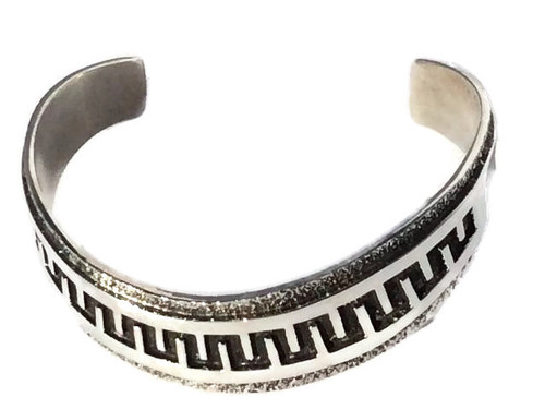 Engraved Sterling Silver Cuff Navajo Tribe Native American Jewelry Handcrafted