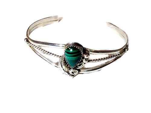 Floral Malachite Sterling Silver Cuff Bracelet .925 Sterling Silver Navajo Tribe Native American Jewelry Handcrafted