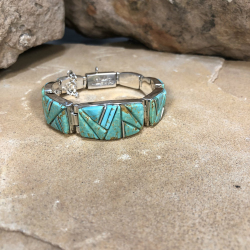 Chaco Canyon Calvin Begay Navajo Turquoise Bracelet