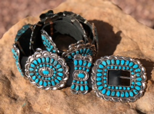 Turquoise And Sterling Concho Belt