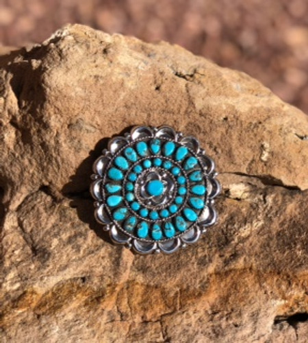 Turquoise And Sterling Pin