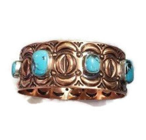 Kingman Turquoise Stone Copper Bangle Bracelet
