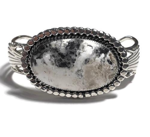 White Buffalo Stone Sterling Silver Cuff