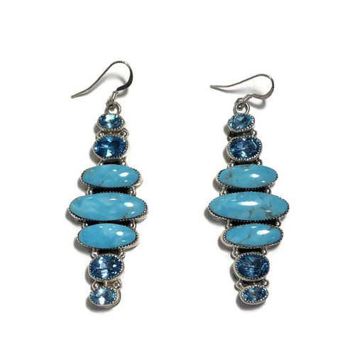 Turquoise And Topaz Stone Sterling Silver