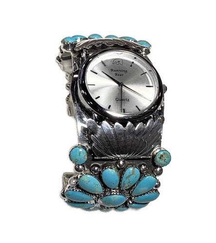 Turquoise Stone Cluster Watch band Sterling Silver 3.60 Oz.