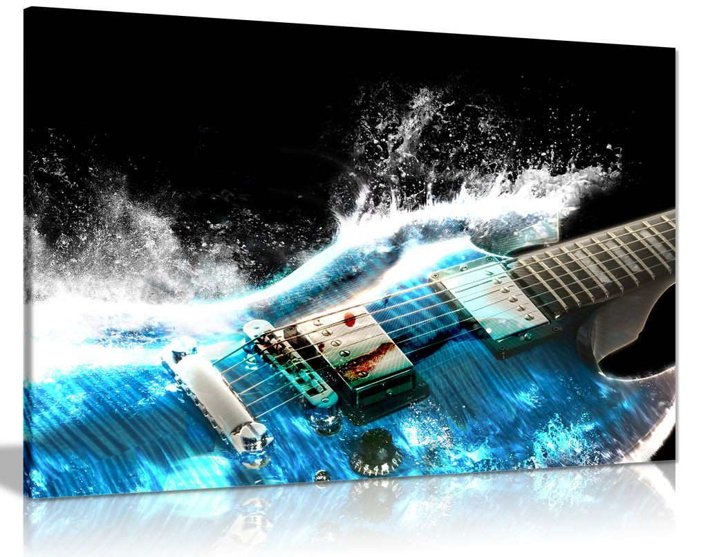 Guitar In Blue And Waves Music Canvas Wall Art Picture Print