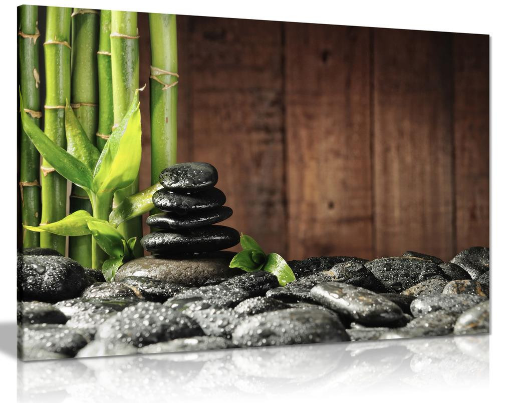 Green Spa Botanical Bamboo Grove Black Zen Stones Old Wooden Background Canvas Wall Art Picture Print