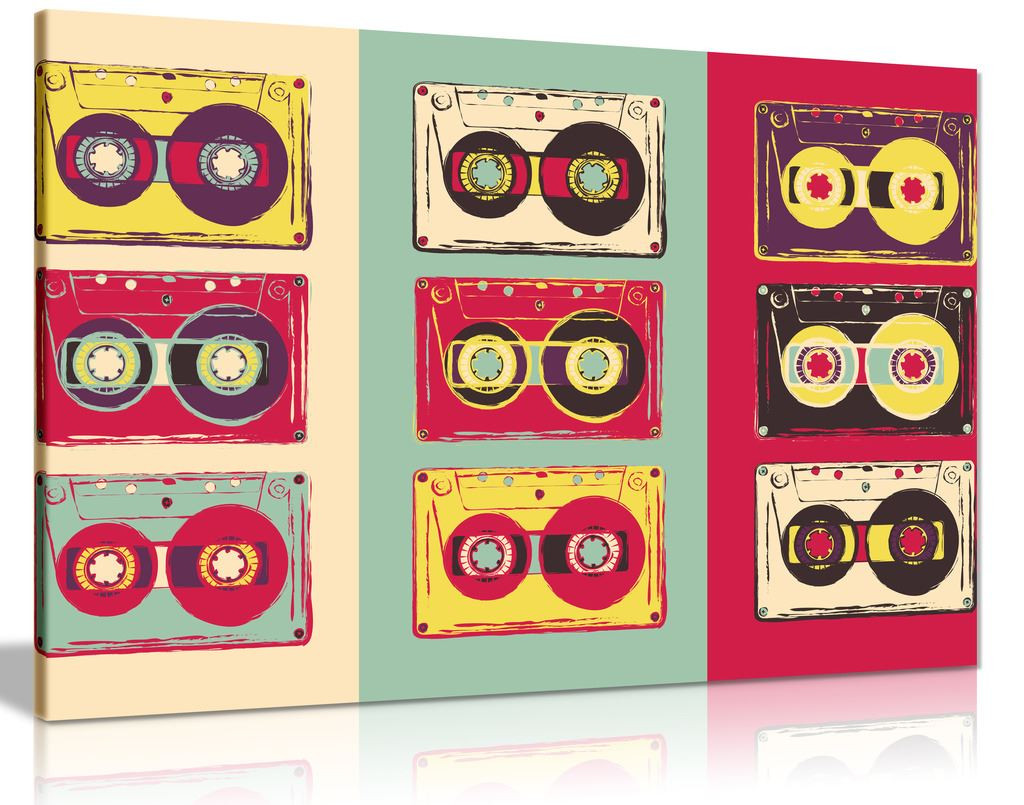 Funky Wall Art Retro Cassettes Canvas Wall Art Picture Print