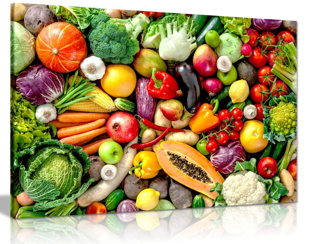 Fresh Fruits & Vegetables Kitchen Canvas Wall Art Picture Print