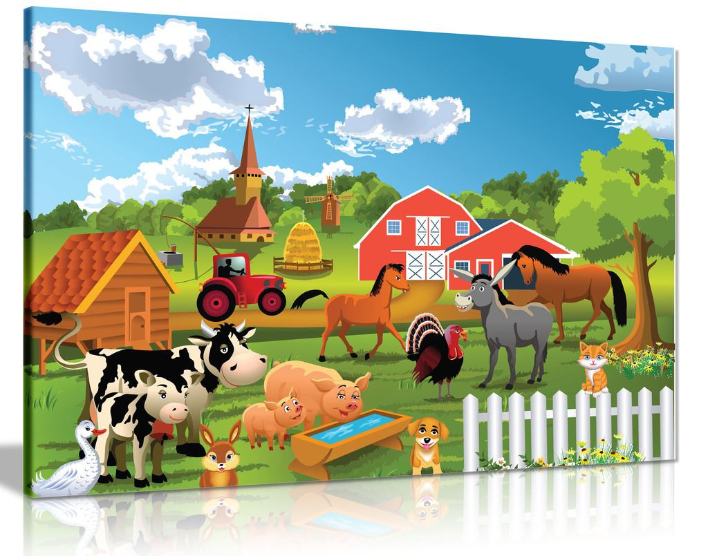 Farm Animals Canvas Wall Art Picture Print