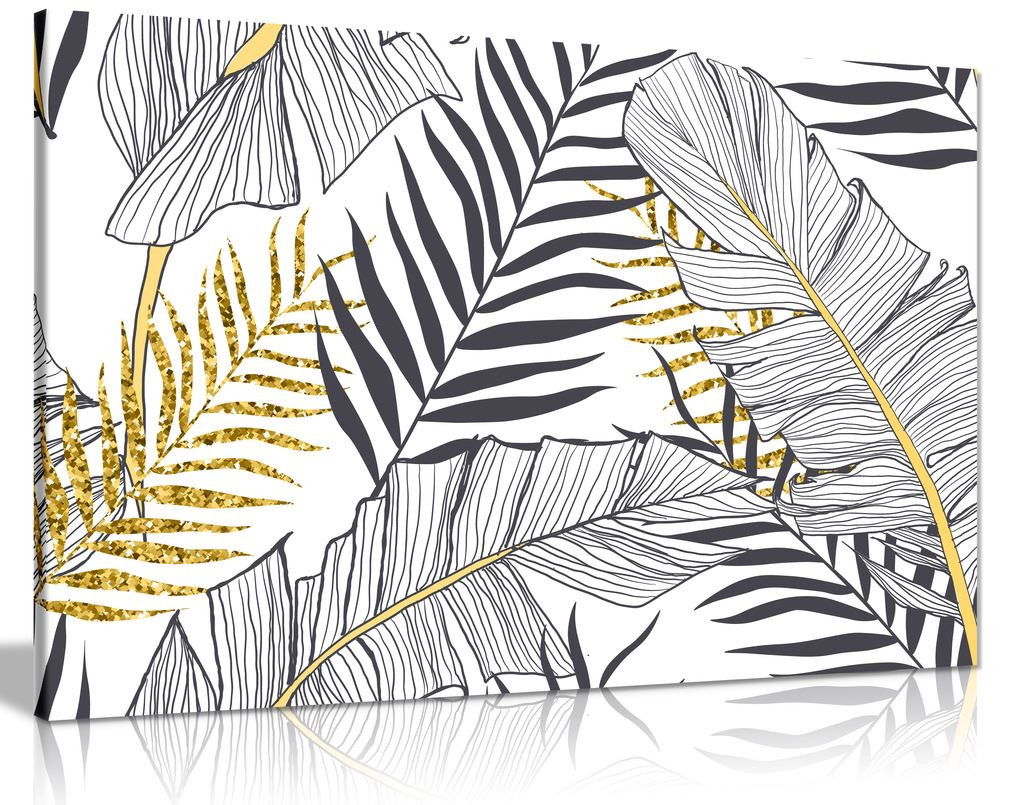Exotic Tropical Jungle Leaf Black White Gold Canvas Wall Art Picture Print