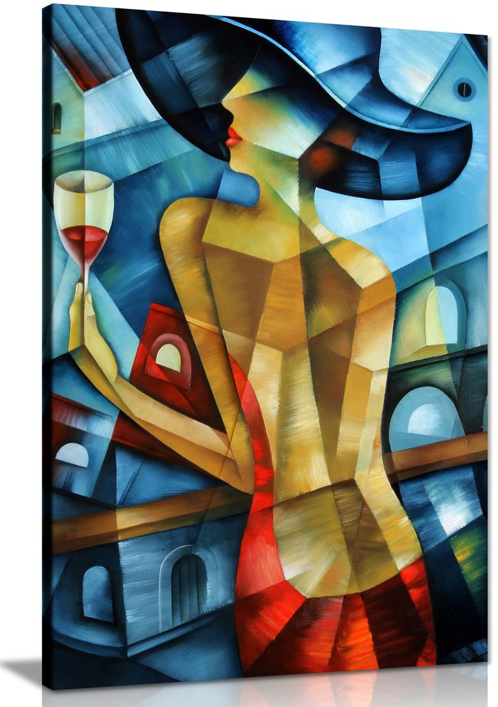 Elegant Woman Cubism Modern Canvas Wall Art Picture Print