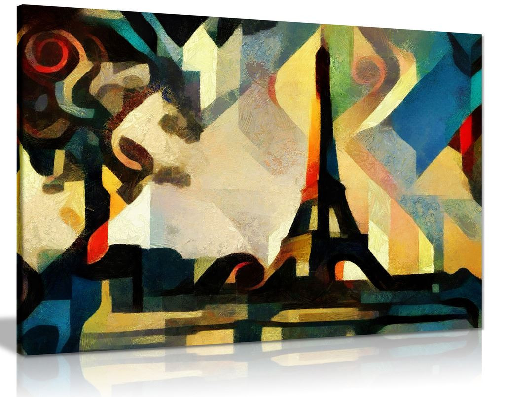 Eiffel Tower Paris Cubism Modern Canvas Wall Art Picture Print