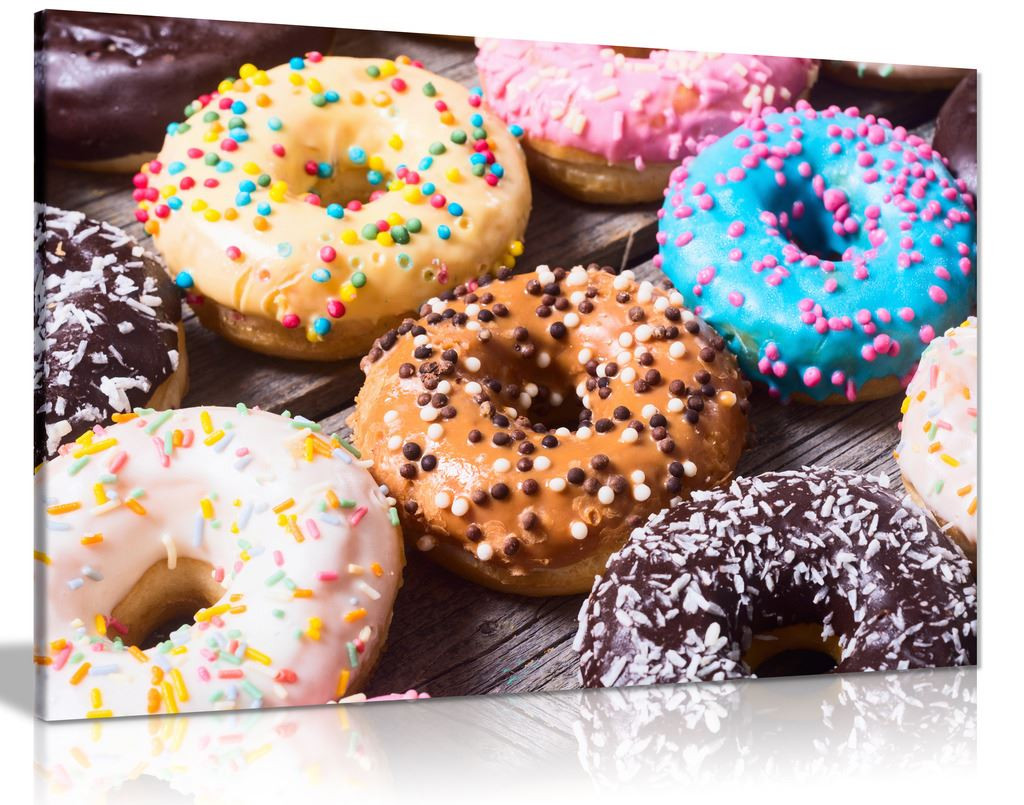 Colourful Frosted Doughnuts Cafe Coffee Shop Canvas Wall Art Picture Print