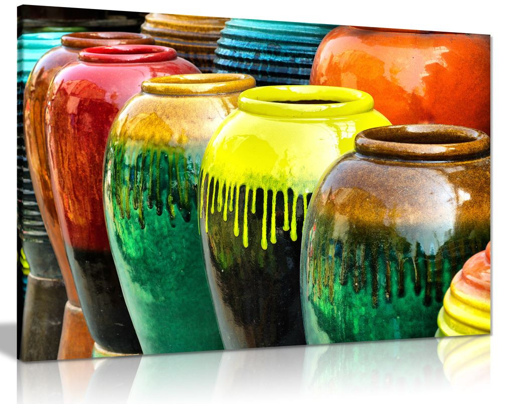 Colourful Ceramic Pottery Jars Canvas Wall Art Picture Print