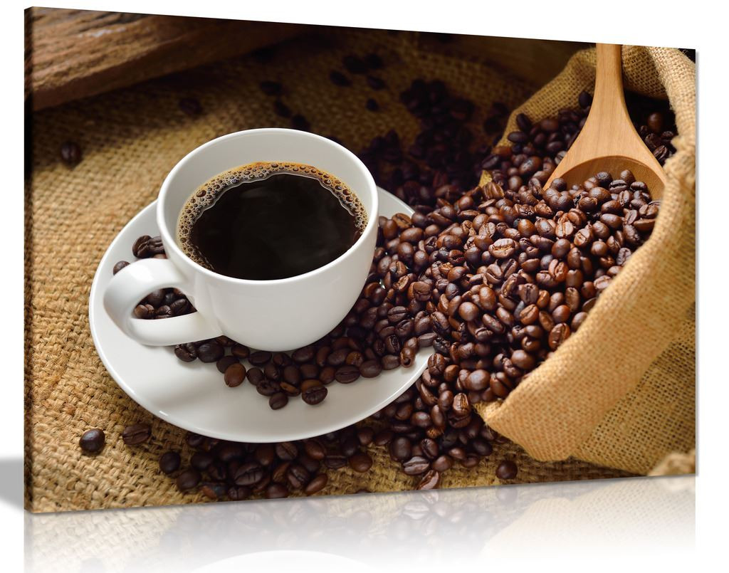 Coffee Cup & Coffee Beans Cafe Shop Canvas Wall Art Picture Print