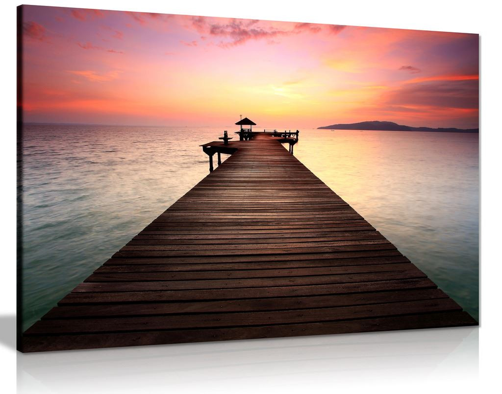 Coastal Pier Canvas Wall Art Picture Print