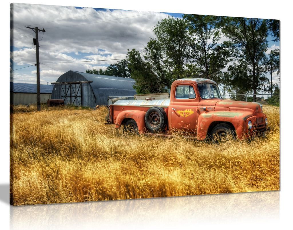 Car In Red Trees And Dry Grasses In Field Canvas Wall Art Picture Print