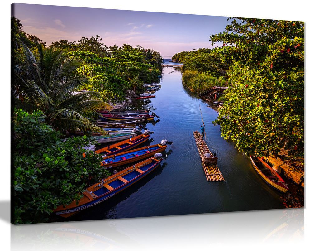 Boats On White River Jamaica Nature Landscape Canvas Wall Art Picture Print