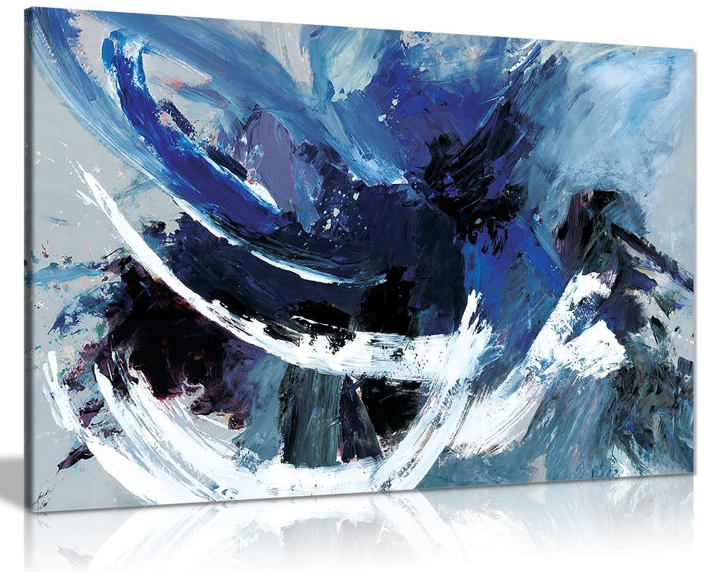Blue White Abstract Canvas Wall Art Picture Print