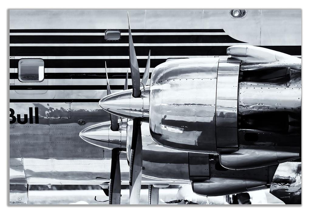 Black & White Douglas Dc-6 Vintage Airplane Canvas Wall Art Picture Print