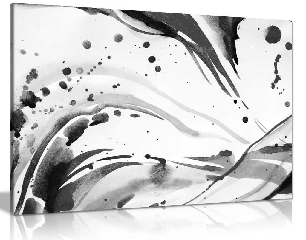 Black & White Abstract Ink Splash Canvas Wall Art Picture Print