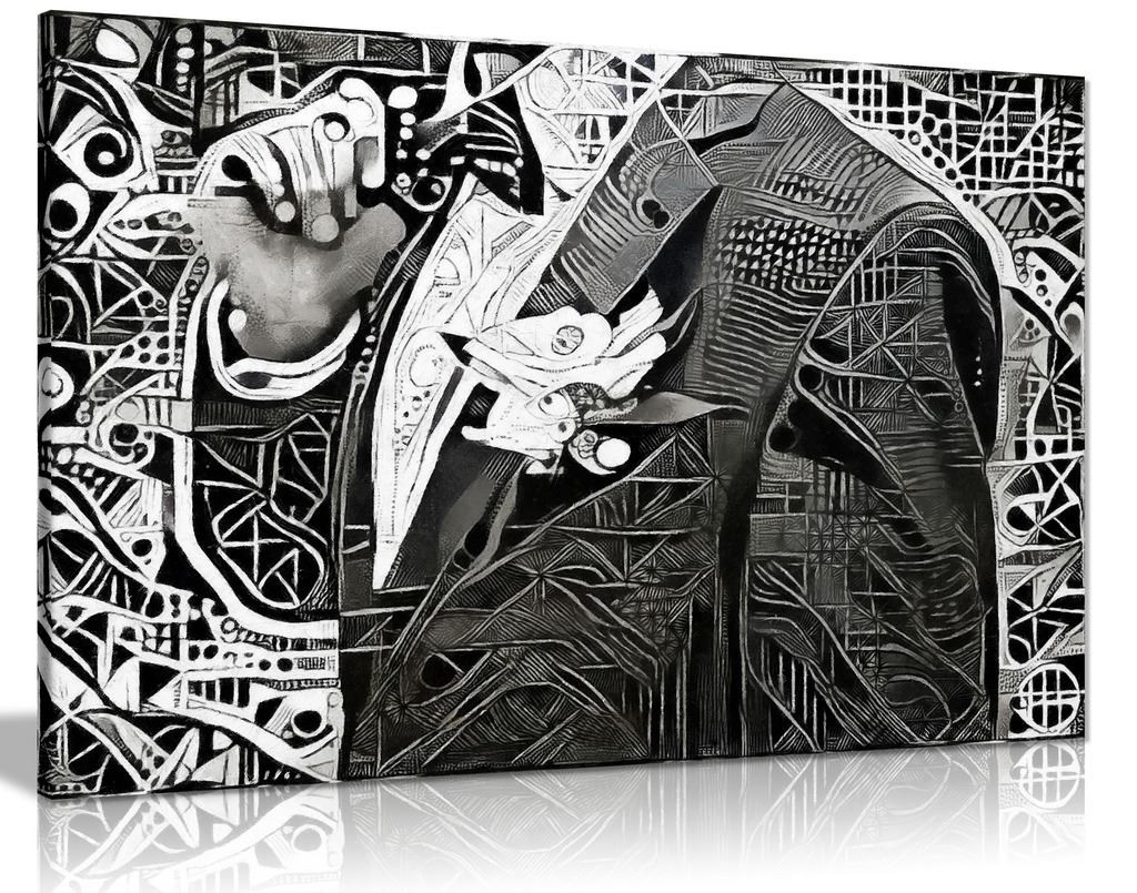 Beautiful Black & White Modern Art Man In Jacket Canvas Wall Art Picture Print