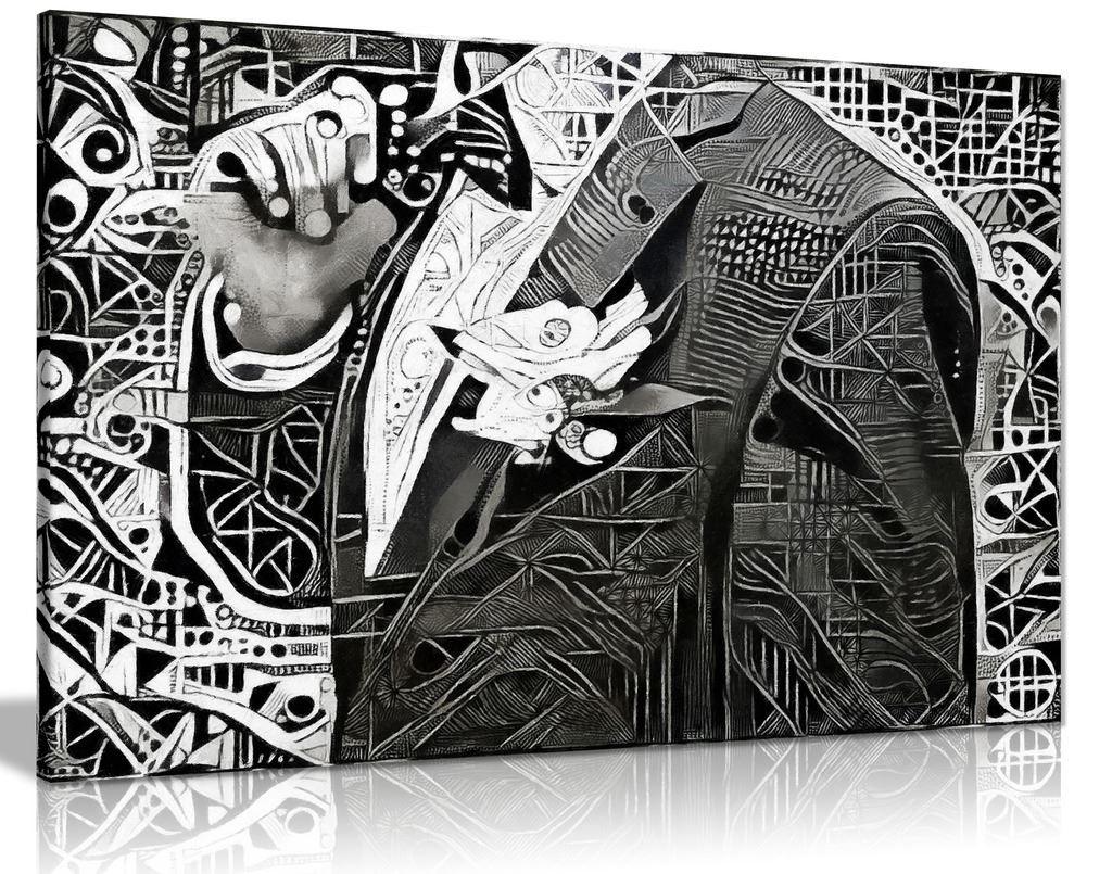 Beautiful Black & White Modern Art Man In Jacket Canvas Wall Art Picture Print