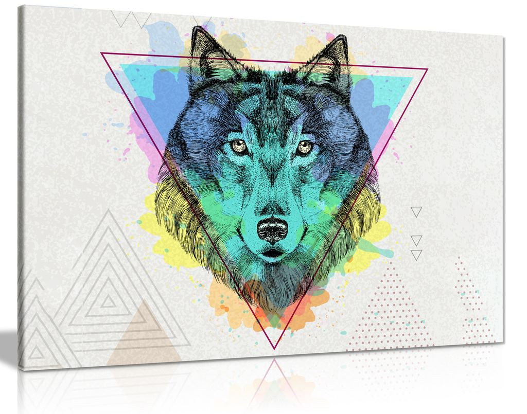 Abstract Wolf Animal Head Canvas Wall Art Picture Print