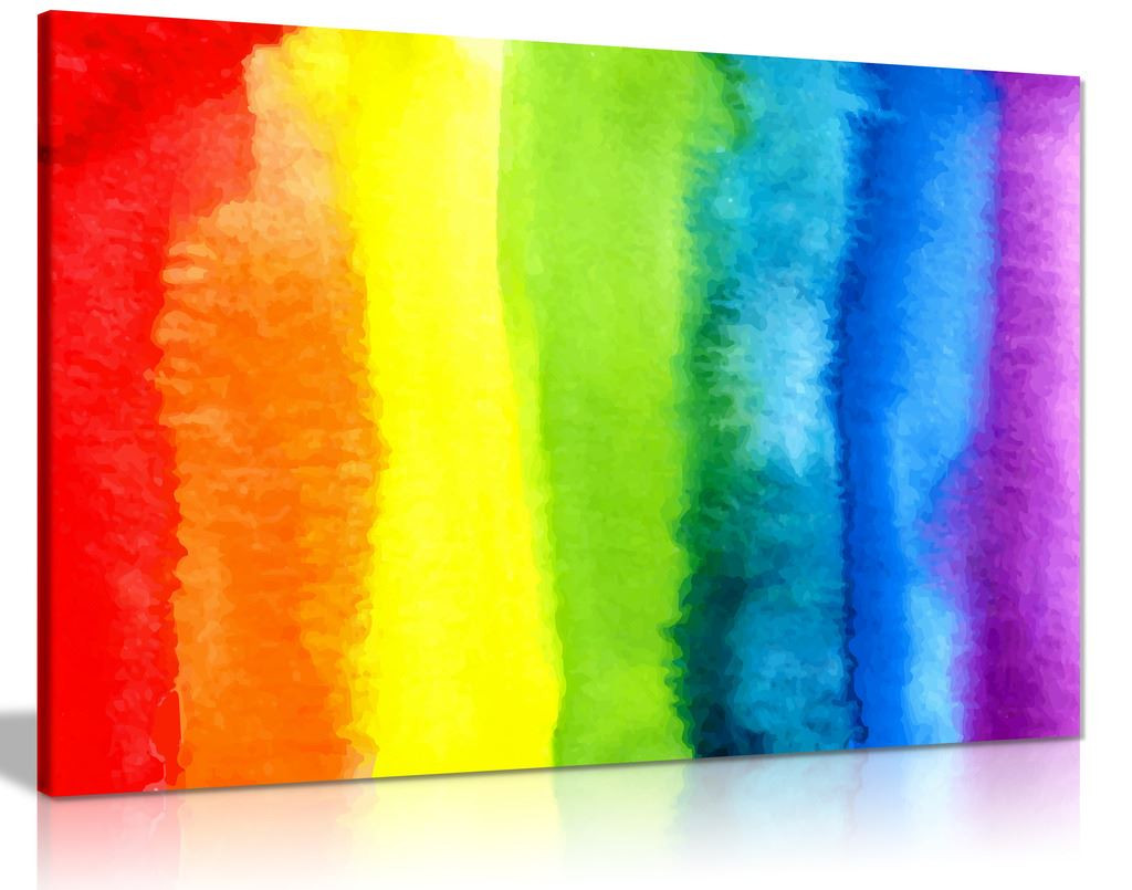 Abstract Watercolour Rainbow Canvas Wall Art Picture Print