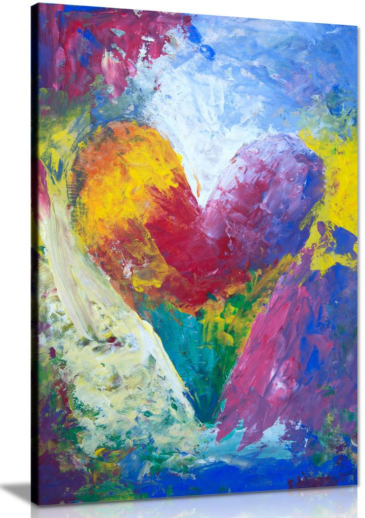 Abstract Heart Painting Canvas Wall Art Picture Print