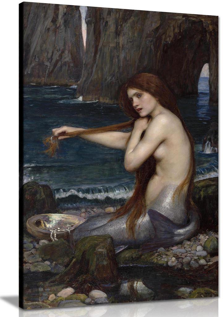 A Mermaid John William Waterhouse Canvas Wall Art Picture Print