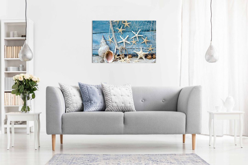 Blue Maritime Sea Bathroom Canvas Wall Art Picture Print Home Decor