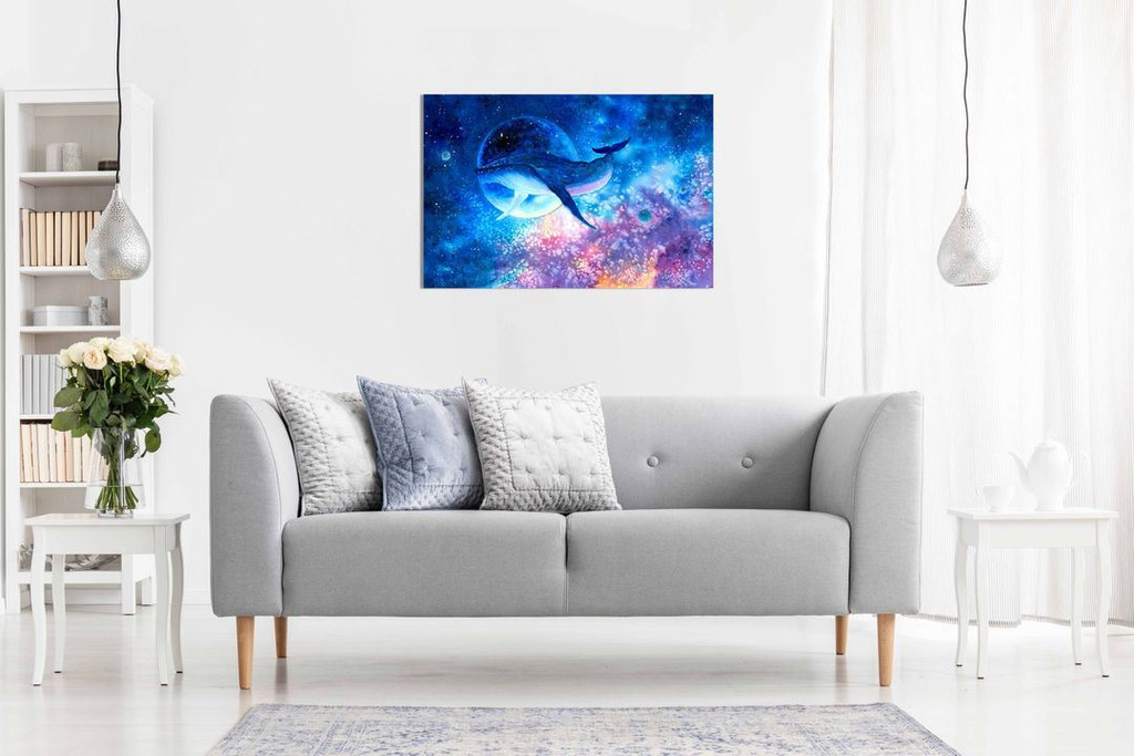 Blue Whale Diving into Space Water Colour Fantasy Kids Canvas Wall Art Picture Print Home Decor