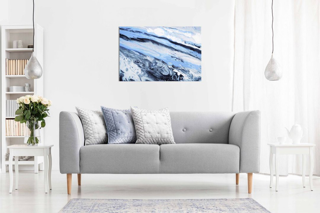 Blue White Black Abstract Marble Canvas Wall Art Picture Print Home Decor