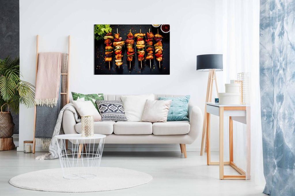 Chicken Skewer Kebab Grill Turkish Restaurant Kabob Food Canvas Wall Art Picture Print Home Decor