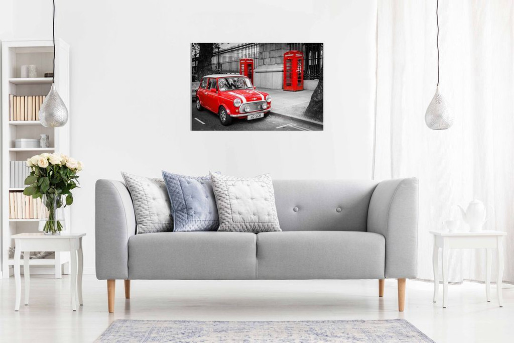 London Classic Mini Red Phonebox Black White Canvas Wall Art Picture Print Home Decor